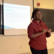 Yoruba TA Adeola Agoke presents to our monthly pedagogy workshop